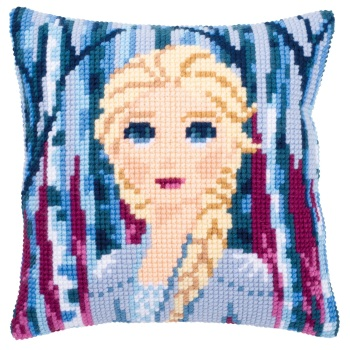 Cross Stitch Cushion cover: Frozen II Elsa (Vervaco). Cross Stitch / Tapestry