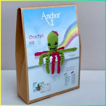 The Colours of emotions. Octopus Baby Collection. Crochet Kit Octopus. Hopi: Lime/Fuchsia. Anchor.