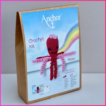 The Colours of emotions. Octopus Baby Collection. Crochet Kit Octopus. Rose: Fuchsia / Pink. Anchor.