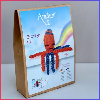 The Colours of emotions. Octopus Baby Collection. Crochet Kit Octopus. Milo: bright Orange / dark Blue. Anchor.
