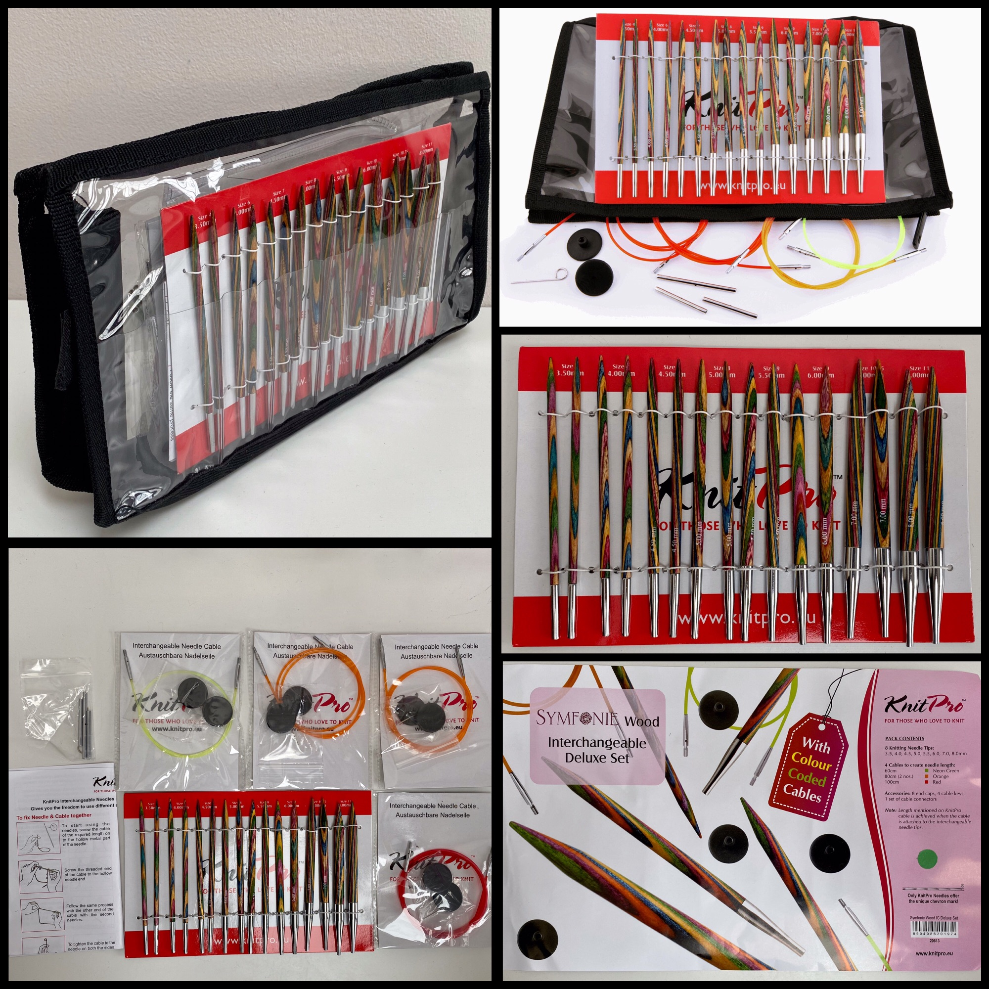 KnitPro Symfonie Wood Interchangeable Deluxe Set of 8 knitting needles and