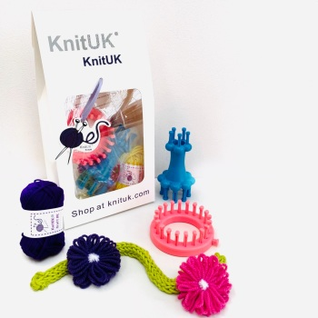 KnitUK Embellishment Set of 2 knitting looms: Pink Flower Loom + Blue Double-End Spool Loom