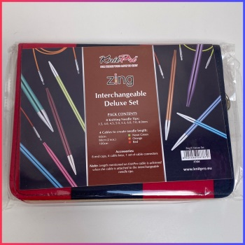 KnitPro Zing Knitting Needles Interchangeable Deluxe Set.