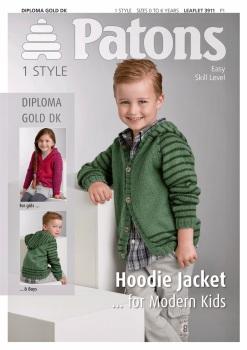 Patons Hoodie Jacket…for Modern Kids. Uses Diploma Gold DK. Leaflet 3911.