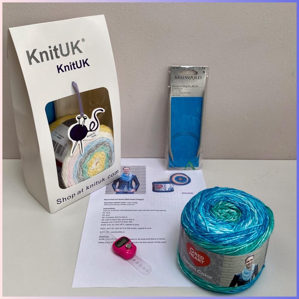 Knitting Kit - Denim Color Shawl (Beginner). Choose colour.