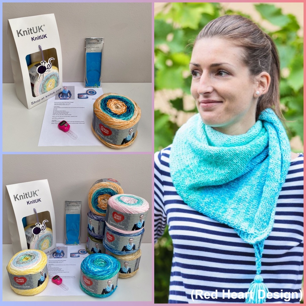 KnitUK Denim Color Shawl Kit with red heart acrylic yarn and free design
