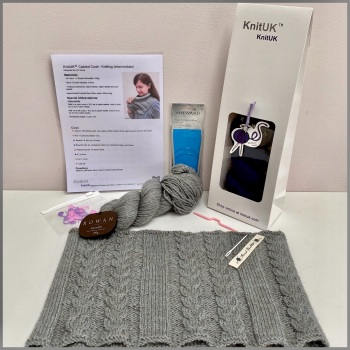 Knitting Kit - Cabled Cowl (Intermediate). With British wool yarn. Choose colour.