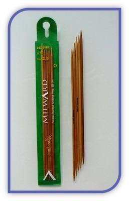 Double point Knitting Needles - Milward - Set of 5 - Bamboo (15cm)
