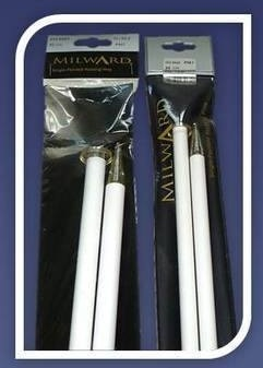 Single Point Knitting Needles -Milward- white plastic with glitter on the p