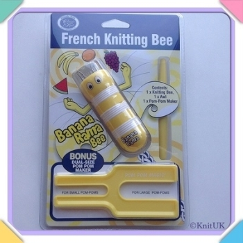 French Knitting Bee Set - Banana Rama Bee spool loom & Pompom Maker