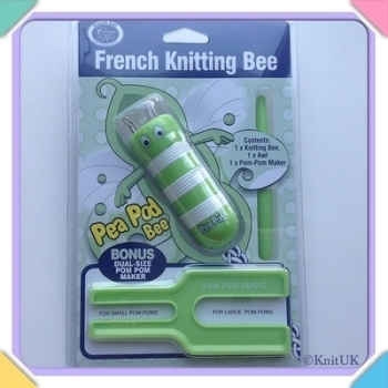 French Knitting Bee Set - Pea Pod Bee & Pom Pom Maker