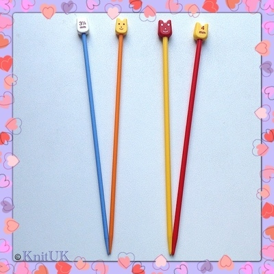 Pony Children's Plastic Knitting Pins Set - 2 pairs: 3.25mm and 4 mm