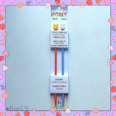 Pony Children's Plastic Knitting Pins - 4 mm