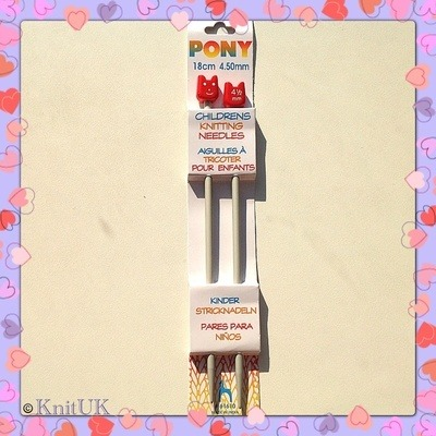 Pony Children's Aluminium Knitting Pins - 4.5 mm (18cm)