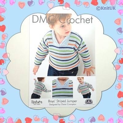 DMC Boys' Striped Jumper - Crochet Pattern Leaflet (by Claire Crompton)