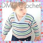 DMC Boys' Striped Jumper - Crochet Pattern Leaflet (by Claire Crompton)