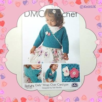 DMC Girl's Wrap-Over- Cardigan - Crochet Pattern Leaflet (by Tash Bentley)