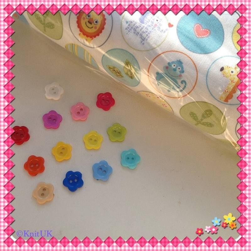flower buttons and circus fabric