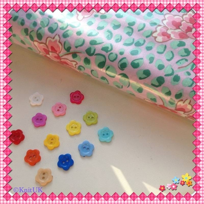 flower button and PekingPink fabric