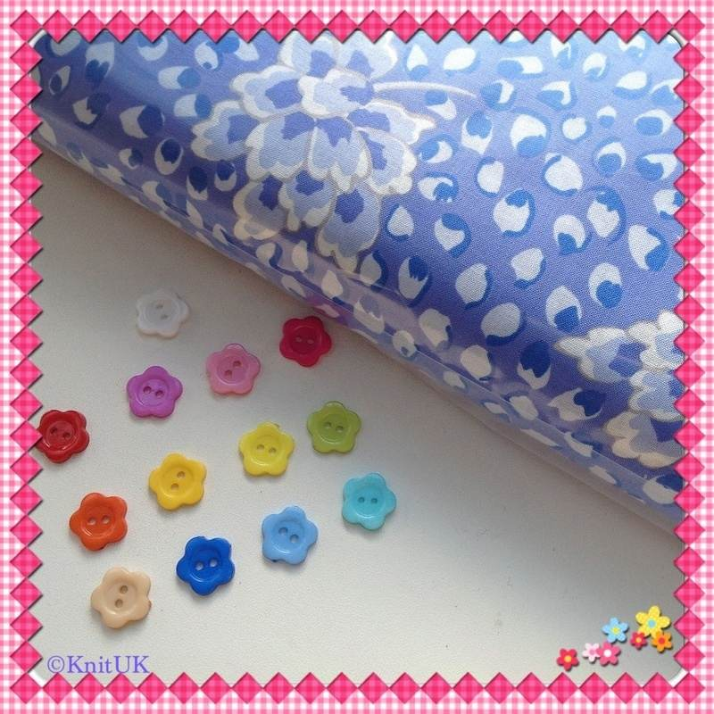 flower button and PekingBlue fabric