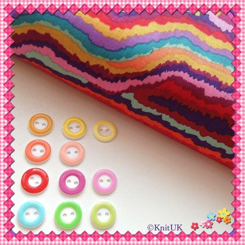 circle buttons and RedXX fabric
