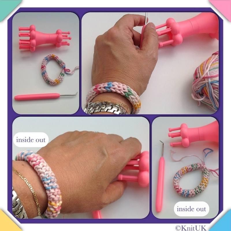 spool loom 4 pics bracelet hands