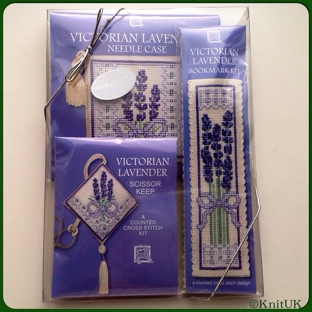 GIFT PACK Victorian Lavender / Cross Stitch Kit - by Textile Heritage™