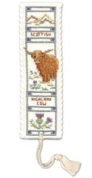 BOOKMARK Highland Cow. Cross Stitch Kit by Textile Heritage