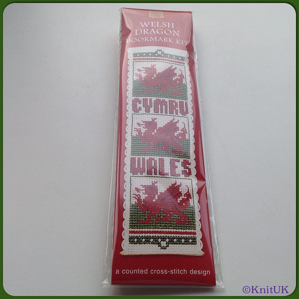 BOOKMARK Welsh Dragon / Cross Stitch Kit - by Textile Heritage™
