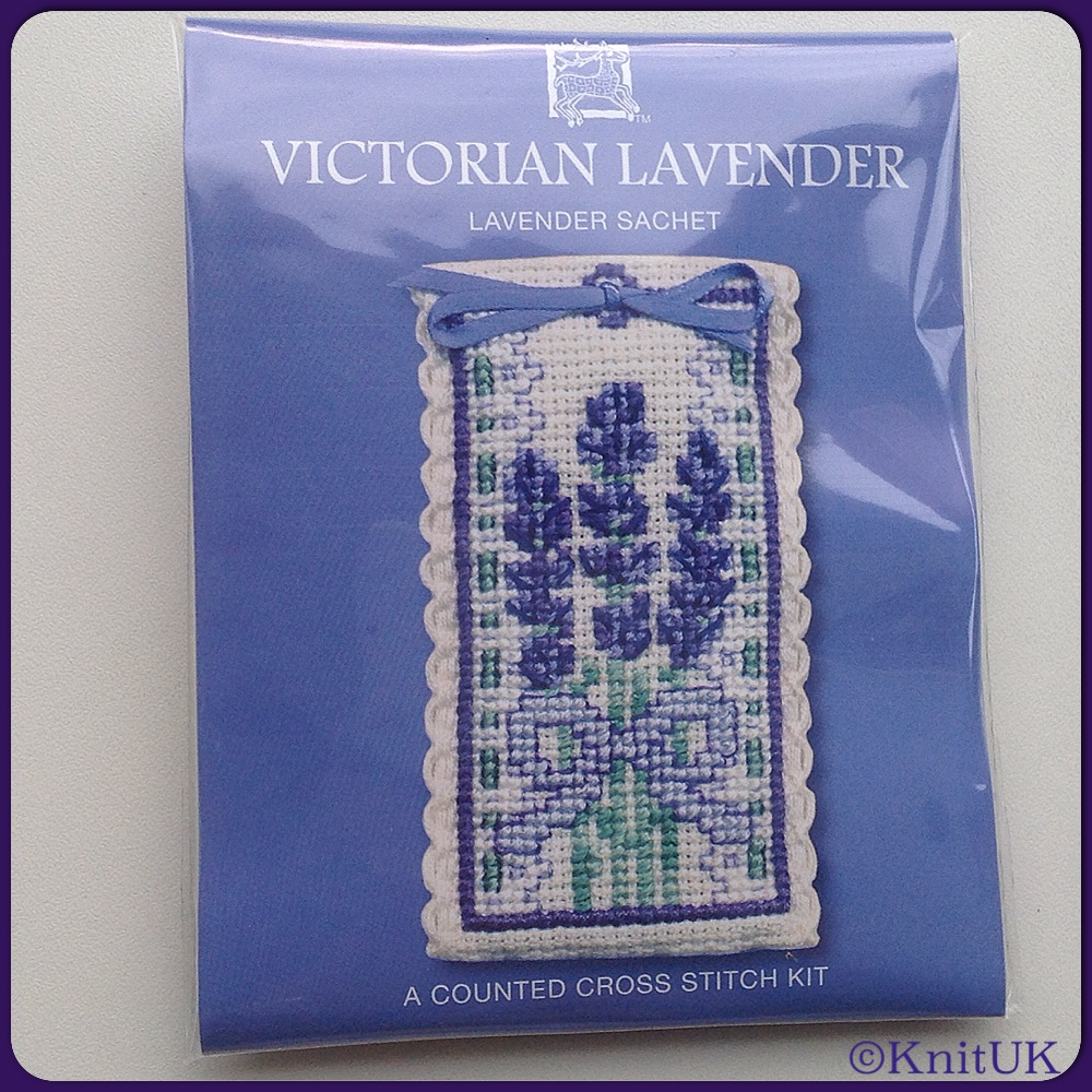 SACHET Victorian Lavender / Cross Stitch Kit - by Textile Heritage™ (Made i