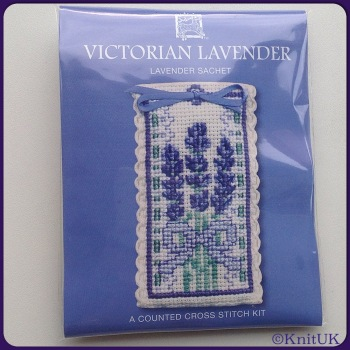 SACHET Victorian Lavender. Cross Stitch Kit by Textile Heritage (Made in UK)