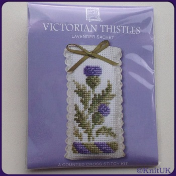 SACHET Victorian Thistle. Cross Stitch Kit by Textile Heritage. (Made in UK)