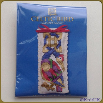 SACHET Celtic Bird. Cross Stitch Kit by Textile Heritage (Made in UK)