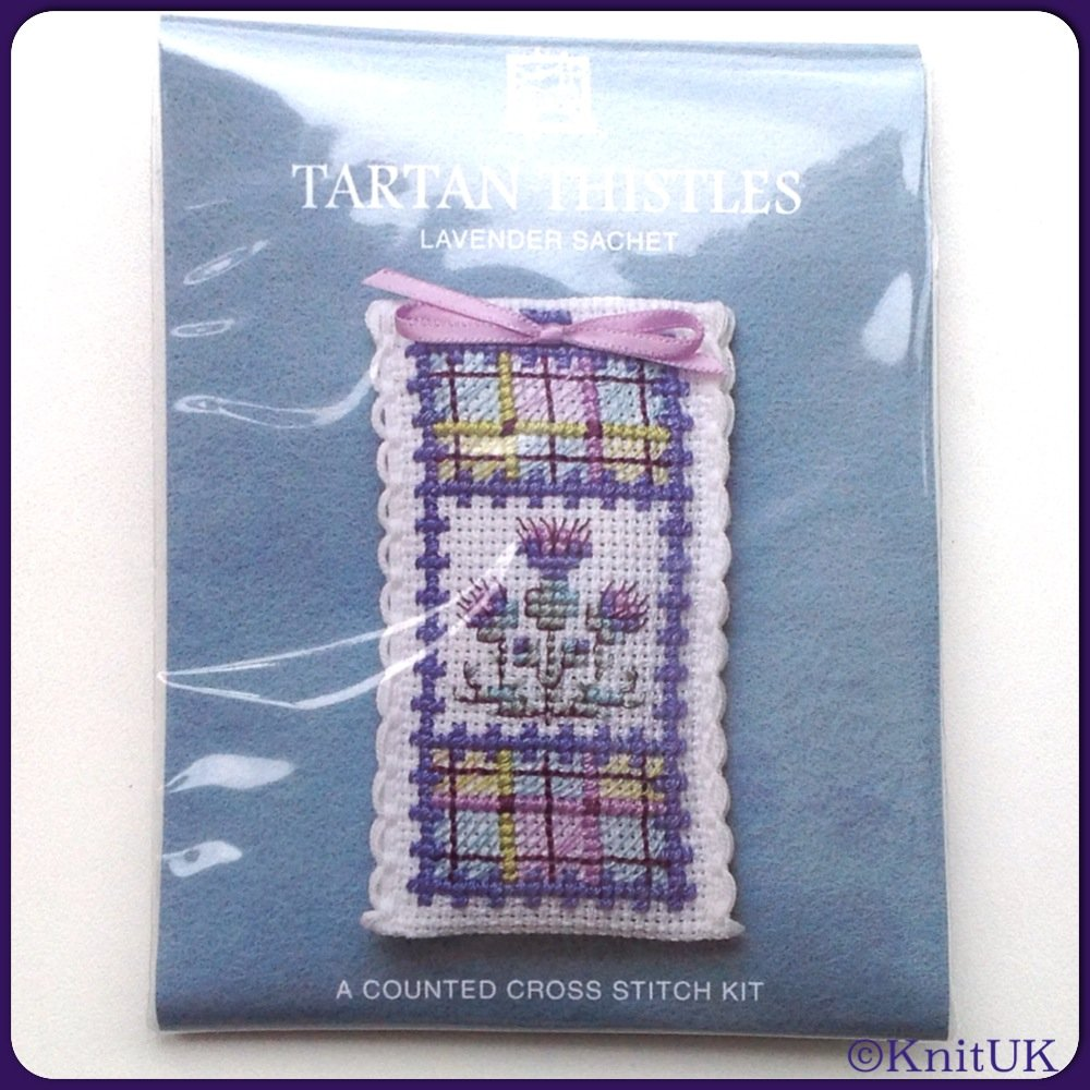 SACHET Tartan Thistle / Cross Stitch Kit - by Textile Heritage™ (Made in UK