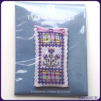 SACHET Tartan Thistle. Cross Stitch Kit by Textile Heritage (Made in UK)