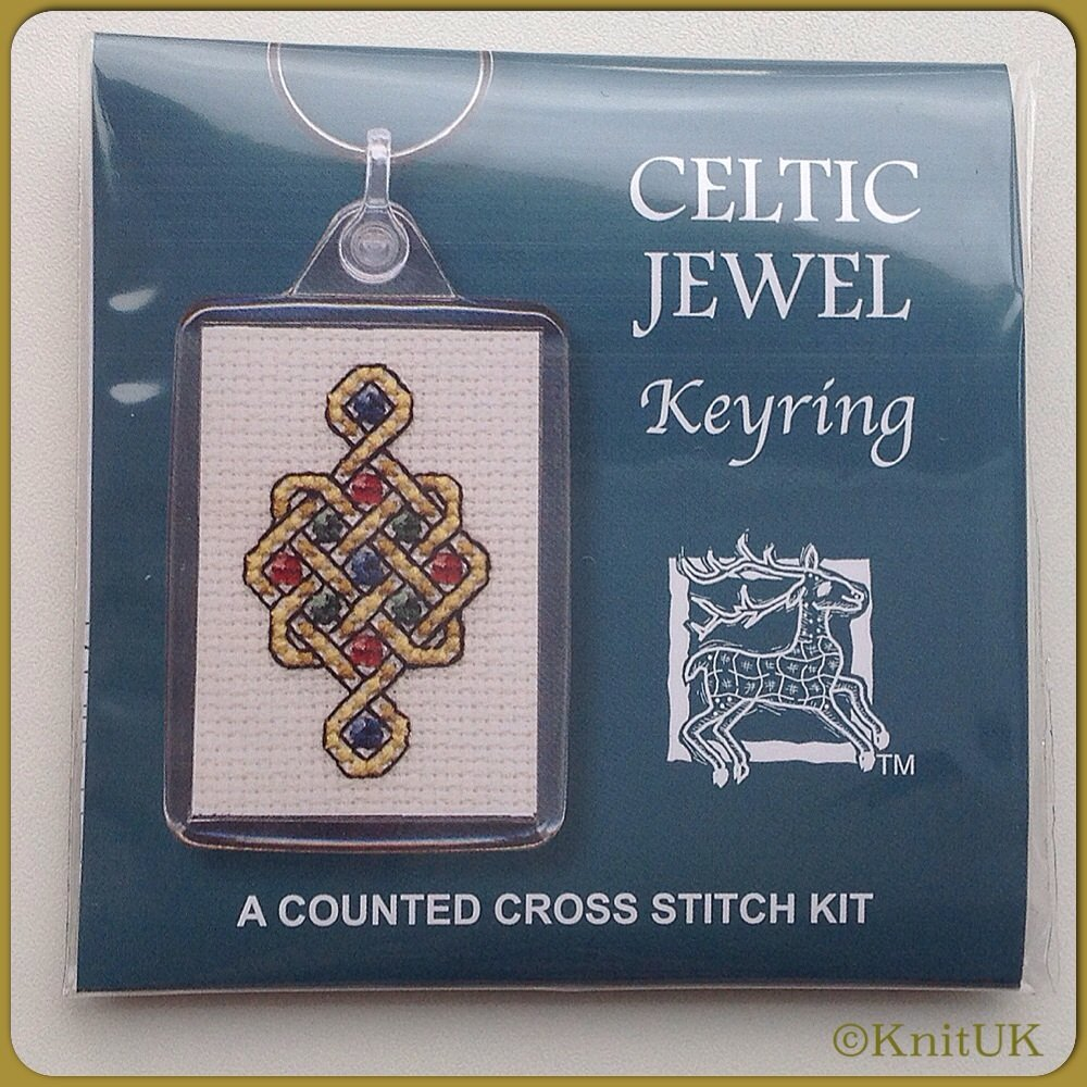 KEYRING Celtic Jewel / Cross Stitch Kit - by Textile Heritage™ (Made in UK)