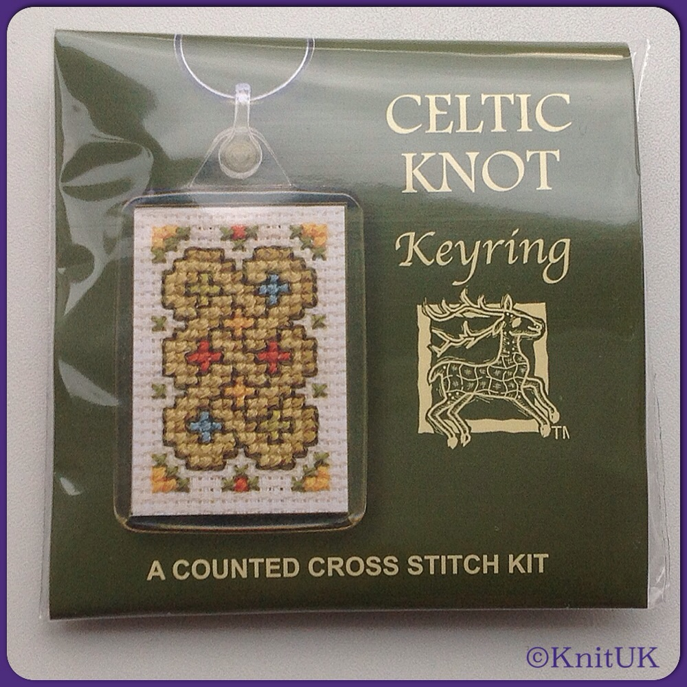 KEYRING Celtic Knot/ Cross Stitch Kit - by Textile Heritage™ (Made in UK)