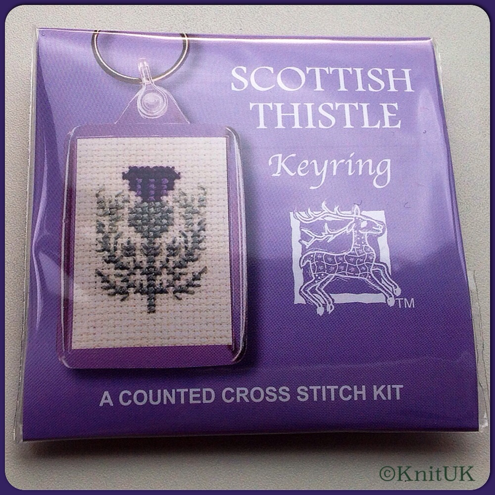 KEYRING Scottish Thistle. Cross Stitch Kit by Textile Heritage (Made in UK)