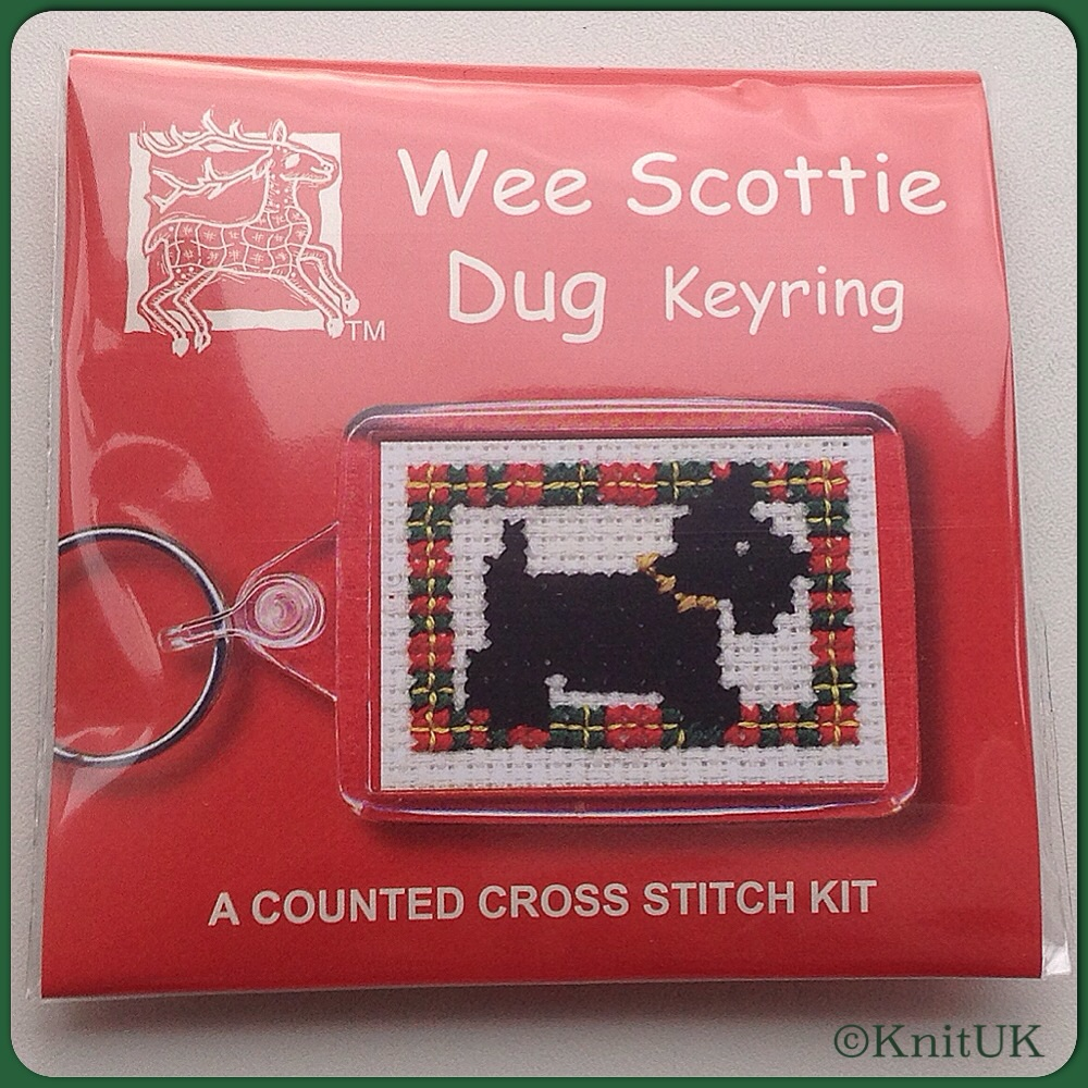 KEYRING Wee Scottie Dug. Cross-Stitch Kit by Textile Heritage (Made in UK)