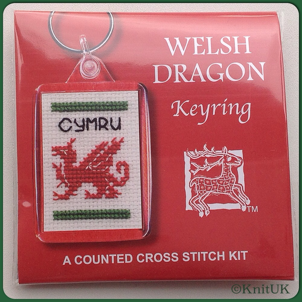 KEYRING Welsh Dragon. Cross-Stitch Kit by Textile Heritage (Made in UK)
