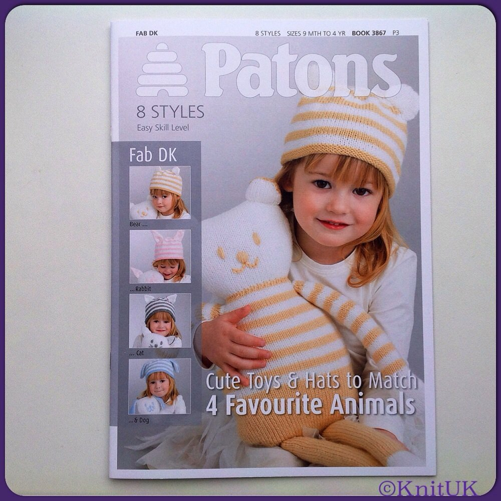 Patons Book 3867. Cute Toys & Hats to Match: 4 Favourite Animals. 20 pages