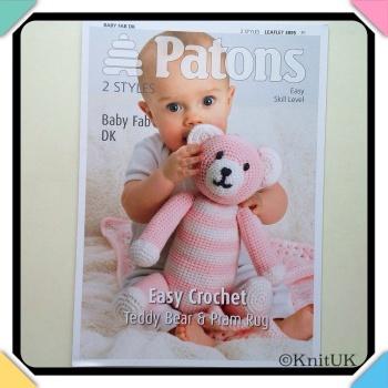 Patons Easy Crochet. Teddy Bear & Pram Rug. LEAFLET 3895