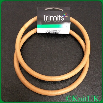 Bag Handles - Round. Trimits - pair of 13cm plastic bag handles: Lt wood (plastic)