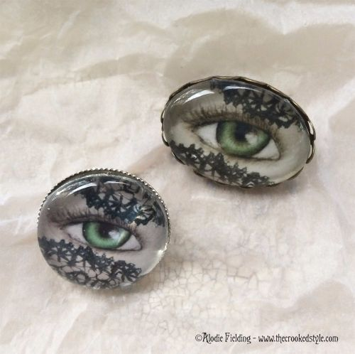 LACE VEIL EYE BROOCHES -OVAL AND 20mm ROUND