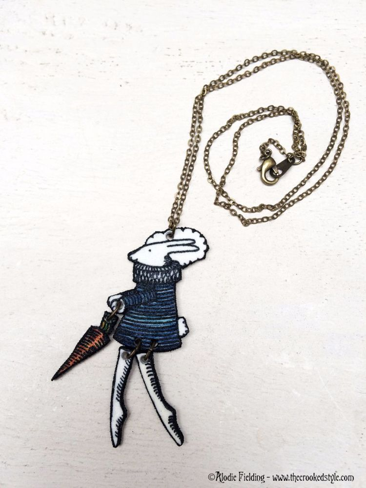 RABBIT WITH CARROT - HAND DRAWN PENDANT