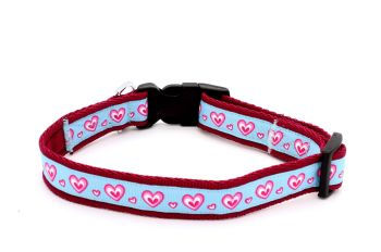 Double pink hearts on pale blue Collar