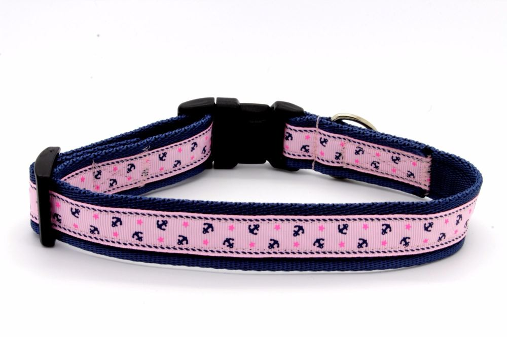 Navy/Pink anchors collar