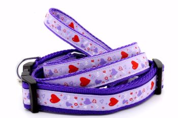 Lilac & Red hearts Collar