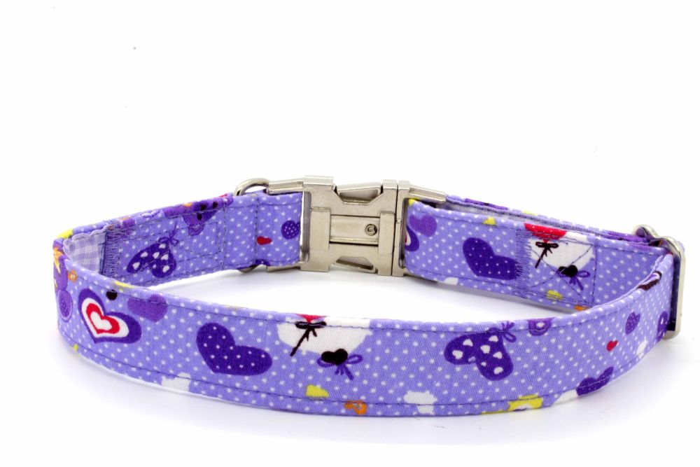 Lilac teddies/heart Collar