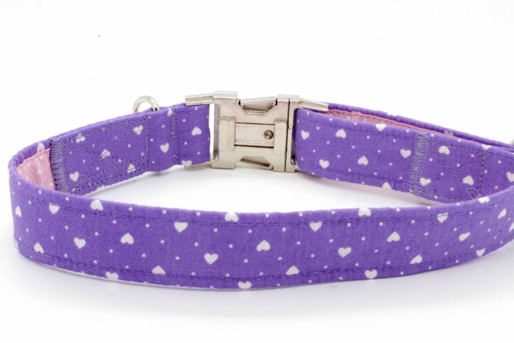 Lilac/white Hearts Collar